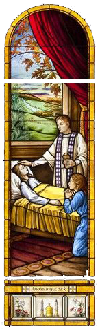 Stained glass picture of priest anointing a sick woman