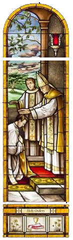 Stained Glass of bishop and priest ordaining a man to the priesthood