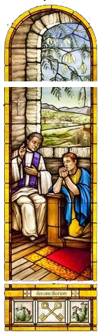 Stained Glass Picture of a Priest hearing confessions